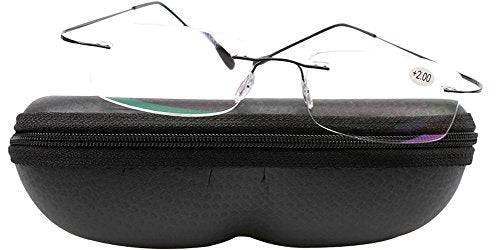 SOOLALA High End Lightweight Titanium Stainless Steel Rimless Magnifying Reading Glasses, Black, 1.5D