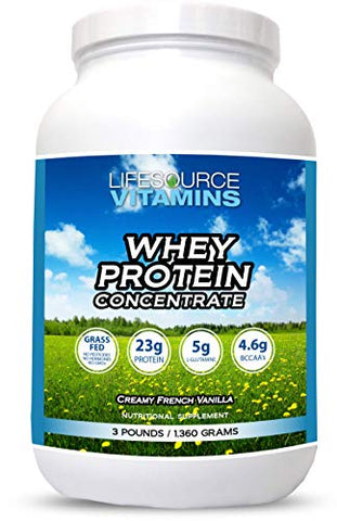 LifeSource Vitamins 3 lb Grass Fed Whey Protein Concentrate - Creamy French Vanilla w/Stevia - Free Priority Shipping