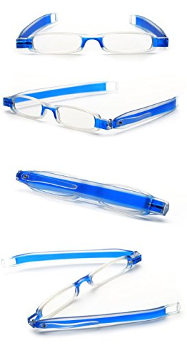SOOLALA Best Gifts 5-Pairs 360 Rotating Tube Pen Clip Folding Reading Glasses, 2.5D