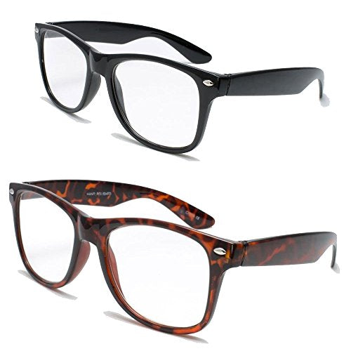 2 Pairs Deluxe Reading Glasses - Comfortable Stylish Simple Readers Rx Magnification (1 tortoise 1 black, 2 x)