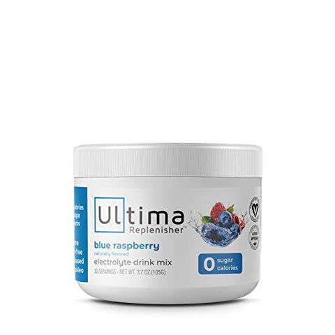 Ultima Replenisher Electrolyte Hydration Powder, Blue Raspberry, 30 Servings - Sugar Free, 0 Calories, 0 Carbs - Gluten-Free, Keto, Non-GMO, Vegan, with Magnesium, Potassium, Calcium