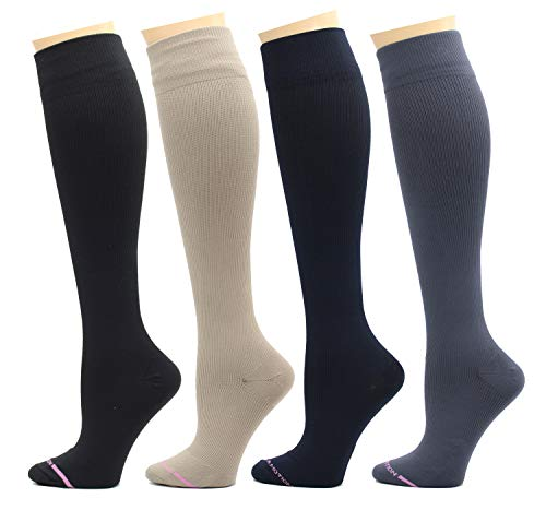 4 Pairs Dr. Motion Therapeutic Graduated Compression Women's Knee-hi Socks