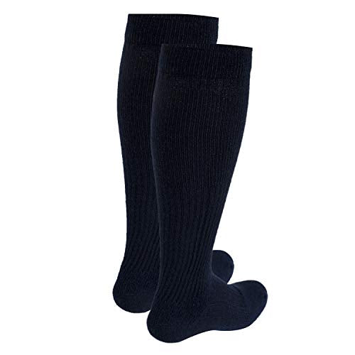 Truform Men's 15-20 mmHg Knee High Cushioned Athletic Support Compression Socks, Navy, Small (Pack of 2)