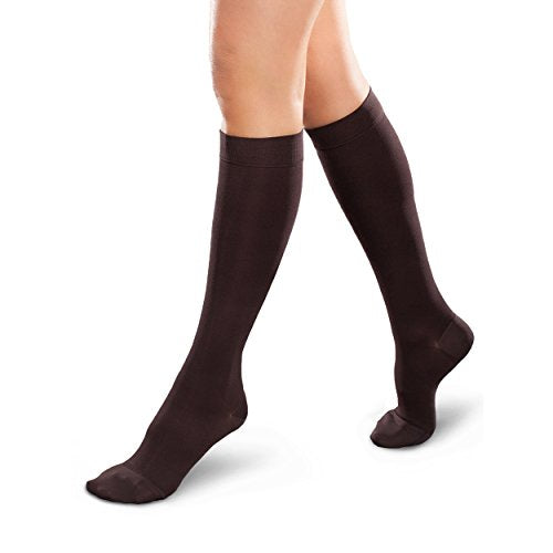 Therafirm Opaque Women's Knee High Support Stockings - Mild (15-20mmHg) Graduated Compression Nylons (Cocoa, Large Short)