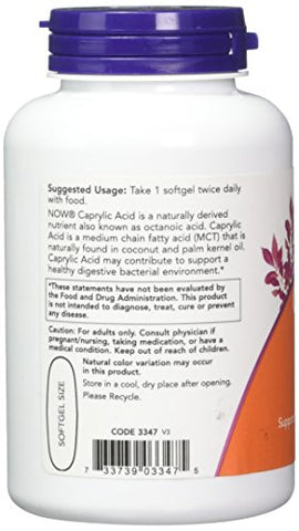 NOW FOODS Acid 600Mg 100 Sg Caprylic, 100 CT