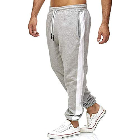 WUAI-Men Athletic Jogger Wrinkle-Free Sweatpants Lightweight Drawstring Elastic Waist Workout Running Jogger Pants(Y-Grey,Small)