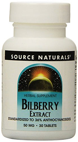 Source Naturals Bilberry Extract 50 mg Standardized Botanical Antioxidant - 30 Tablets