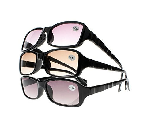 UV Protection Reduce Eyestrain Anti Blue Rays Tinted Lens Sunglasses Reading Glasses +1.00~+4.00 (All 3 Colors, 3.0)