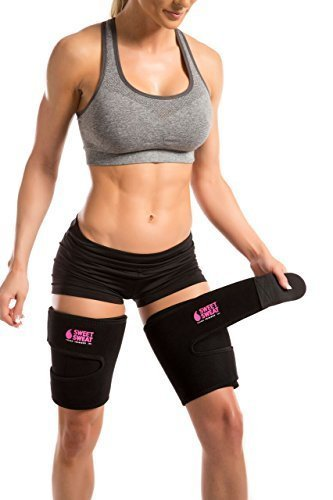 "Sports Research Sweet Sweat Thigh Trimmers for Men & Women ~ Increases Heat and Sweat Production to The Thigh Area ~ Includes Mesh Carrying Bag (Med: 29"" L x 8"" W)"