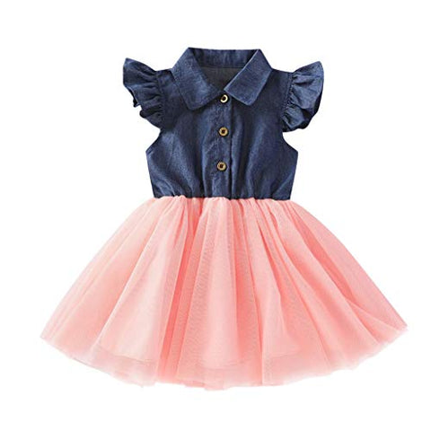 heavKin-Clothes 6M-4Y Kids Baby Girl Lapel Princess Dress Flying Sleeve Denim Tulle Stitching Casual Knee-Length Skirt