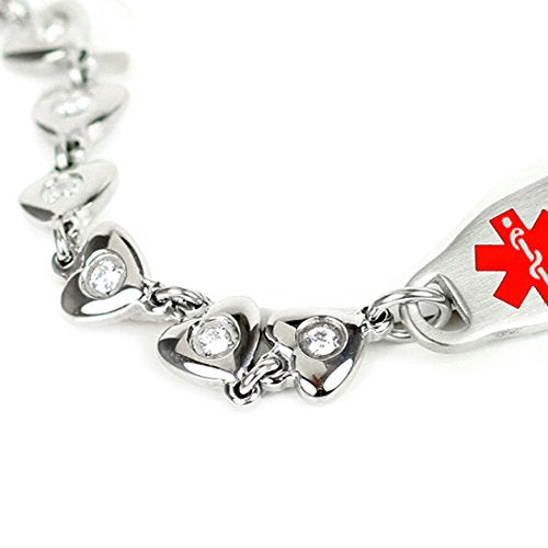 Medical Alert Bracelet For Women With Free Custom Engraving, Steel Heart Link Chain Cz Stone, Red Me