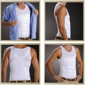 Frogwill Mens Posture Correction/Support/Pain Relief Slimming Body Vest Shirt (L, White-New)