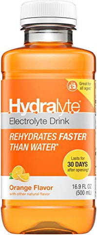 Hydralyte Electrolyte Oral Hydration Ready-to-Drink Solution, Orange, 16.9 Ounce Bottle
