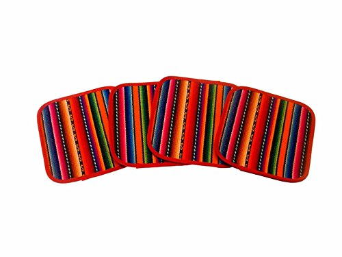 "#1312 Four Woven Multicolored Manta Cotton Coasters Peru Four Pack Lot 5""x5"" New"