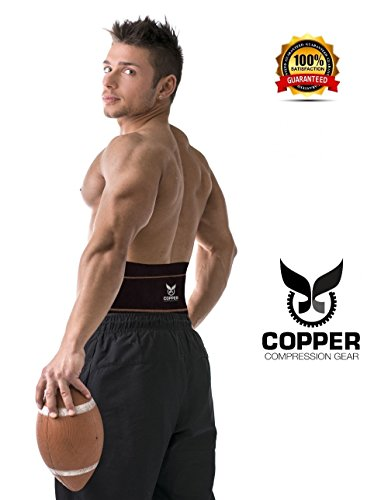 "Copper Compression Gear Premium Fit Back Brace Lower Lumbar Support Belt. Adjustable for Men and Women. Comfortable Copper Infused Back Wrap Perfect for Working or Playing Sports (Waist 39"" - 50"")"