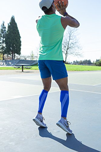 Athletec Sport Compression Calf Sleeve (20-30 mmHg) for Shin Splints, Running, Travel, Cycling, Leg Pain and Calf Pain Relief - Size Small/Medium in Bright Blue (One Pair)