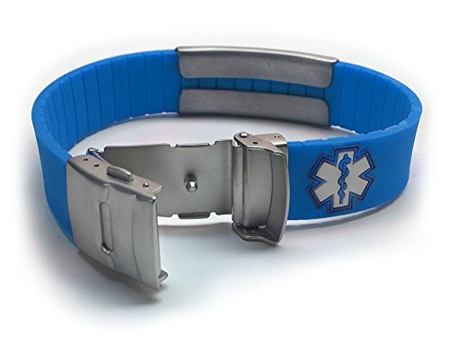 Silicone Sport Medical Alert Id Bracelet   Blue (Incl. 6 Lines Of Custom Engraving). Choose Your Col