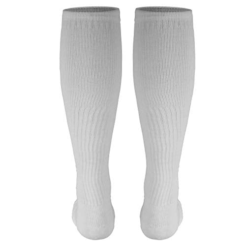 Truform Men's 15-20 mmHg Knee High Cushioned Athletic Support Compression Socks, White, Small (Pack of 2)