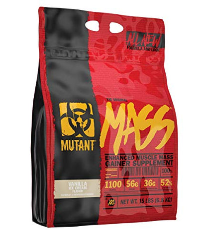 Mutant Mass Weight Gainer Protein Powder  Build Muscle Size and Strength with 1100 Calories  56 g Protein  26.1 g EAAs  12.2 g of BCAAs  15 lbs  Vanilla Ice Cream