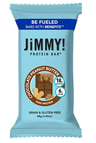 JiMMY! Chocolate Peanut Butter Protein Bar,18g Protein, High Protein, Grain and Gluten Free, 12 Count, Packaging May Vary