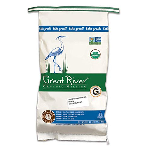 Great River Organic Milling, Oatmeal, Regular Rolled Oats, Organic, 25-Pounds (Pack of 1)