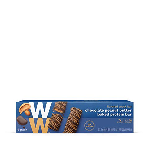 WW Chocolate Peanut Butter Baked Protein Bar - High Protein Snack Bar, 3 SmartPoints - 1 Box (6 Count Total) - Weight Watchers Reimagined