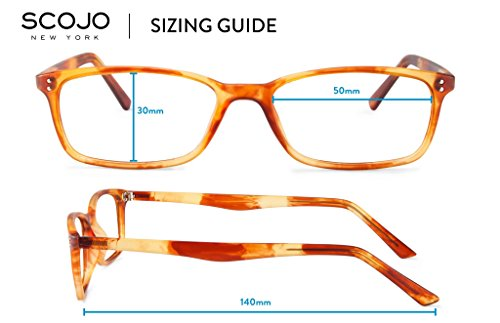 Scojo New York Gels Manhattan Reading Glasses, Matte Havana, 2.25 Magnification