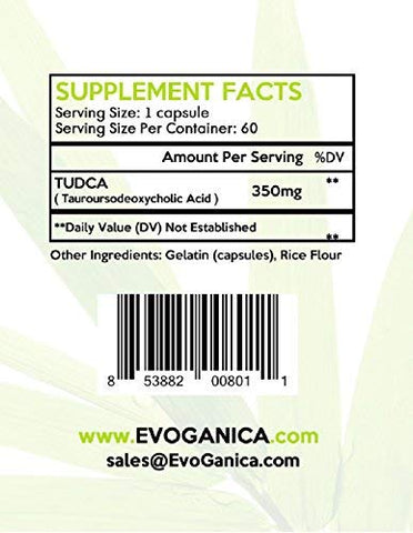 TUDCA (350mg x 60ct) by EVOGANICA - Tauroursodeoxycholic Acid