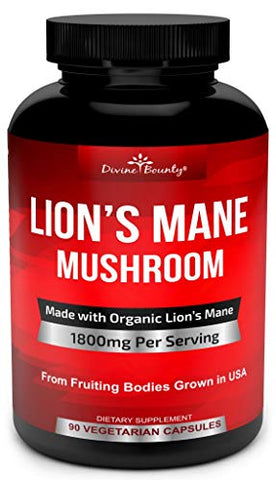 Organic Lions Mane Mushroom Capsules - 1800mg Strongest Lion's Mane Mushroom Supplement - Non-GMO Lions Mane Extract Powder - Nootropic Brain Supplement - Brain & Immune Support - 90 Vegetarian Caps