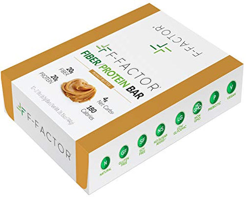 F-Factor Peanut Butter Fiber Protein Bar, High Fiber, High Protein, Low Carb, Gluten Free, Low Sugar, Vegan, Soy Free, Natural, Keto Friendly, Healthy & Convenient Snack, 12 Count