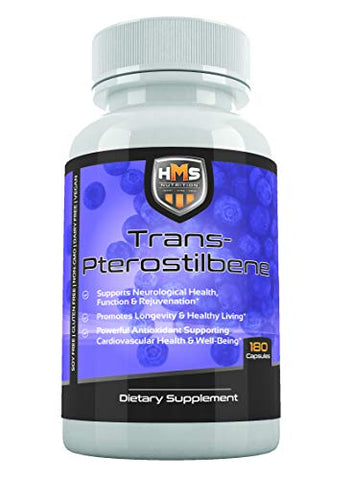 HMS Nutrition Potent Trans-Pterostilbene - 200mg, 180 Vegan Capsules - Anti-Aging, Anti-Inflammatory, Antioxidant Supplement - Gluten, Soy & Dairy Free