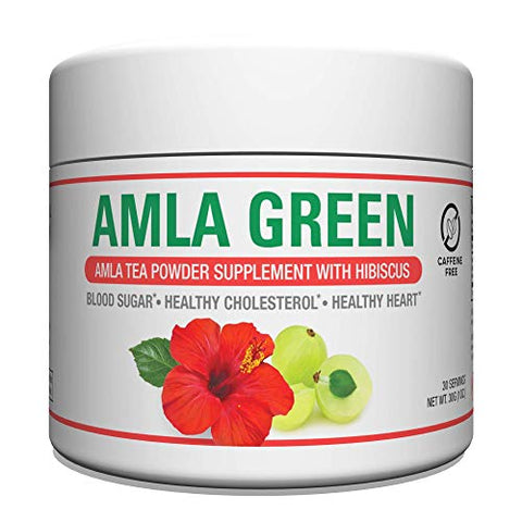 Organic AMLA GREEN Tea Powder  Great Tasting, 20x Concentrated Amla + Oolong Tea Antioxidant Blend  Raw, Vegan, Organic, Non-GMO, Amla Powder (30 Servings, Hibiscus)