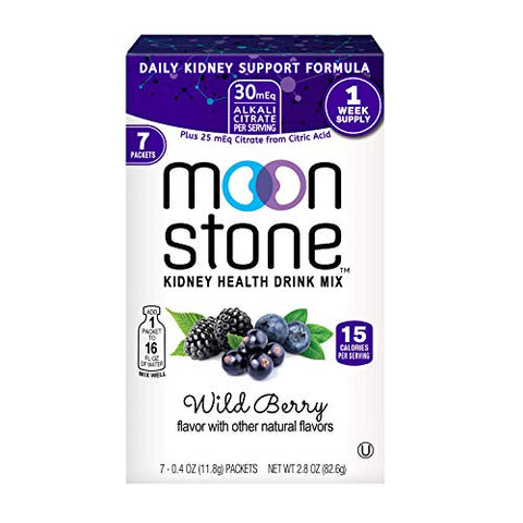 Moonstone Nutrition | Electrolytes Powder Packets Designed by Doctors to Rapidly Rehydrate, Balance PH, Kidney Health Supplement with Magnesium, Potassium, Vitamin B6, No Added Sugar | 7Pk, Wild Berry