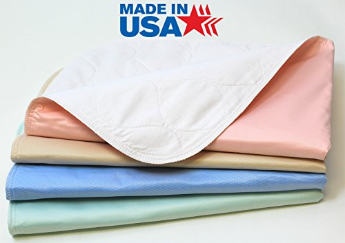 4 Pack - 34x36 Waterproof Reusable Incontinence Underpads/Washable Incontinence Bed Pads - Green, Tan, Pink and Blue - Great for Adults, Kids and Pets