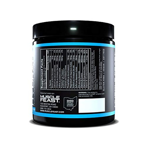 MUSCLE FEAST Hydrate Electrolyte Powder, Keto, Sugar Free, Zero Calories, Eliminate Muscle Cramping, Made with Electrolytes++TM (300 Gram, Blue Ice Pop)