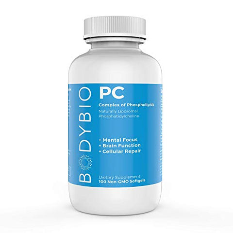 BodyBio - PC Phosphatidylcholine, Liposomal Phospholipid Complex for Cell Health - Enhance Brain Function, Focus, Memory & Clarity - Microbiome Support - Science & Research Backed - 100 Softgels