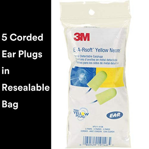 3M Ear Plugs, 5 Pairs/Pack, E-A-Rsoft Yellow Neons VP311-4106, Metal Detectable Cord, Disposable, Foam, NRR 32, Drilling, Grinding, Machining, Sawing, Sanding, Welding