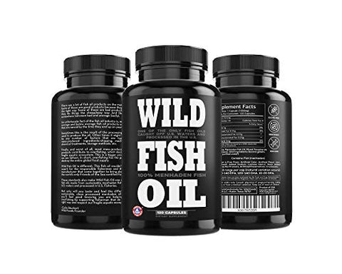 Wild Fish Oil Triple-Strength Omega 3 with Triglyceride DPA DHA & EPA | Burpless, Non-GMO, Gluten-Free & Purity-Tested - Nature's Heart, Brain & Joint Support (120 Softgels))
