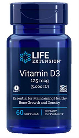 Life Extension Vitamin D3 5000 IU, 60 Softgels - 4-Pak