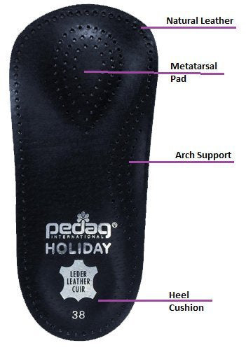 pedag Holiday Orthotic Inserts | 3/4 Length, Thin Leather, Ultra Light, Semi-Rigid Shoe Insoles with Metatarsal Pad & Heel Cushion, Black, US W12/ M9
