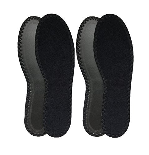 HappyStep 2 Pair Black Cotton Terry Barefoot Summer Insoles, Sweat Absorbent and Moisture Control, Washable and Reusable for Walking, Running and Casual Shoes - Women Size 10