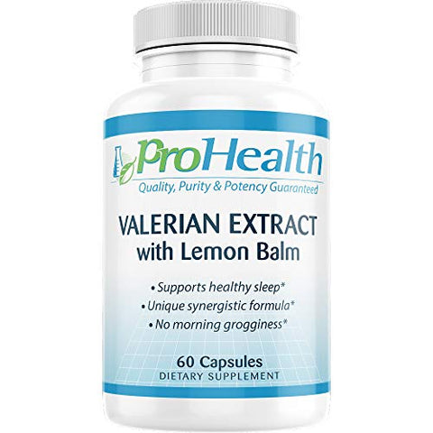 ProHealth Valerian Extract + Lemon Balm (60 capsules) 160 mg Valerian + 80 mg Lemon Balm | Relaxation & Sleep Support | No Morning Grogginess | Stress & Anxiety Relief | Vegan | Gluten Free | Soy Free