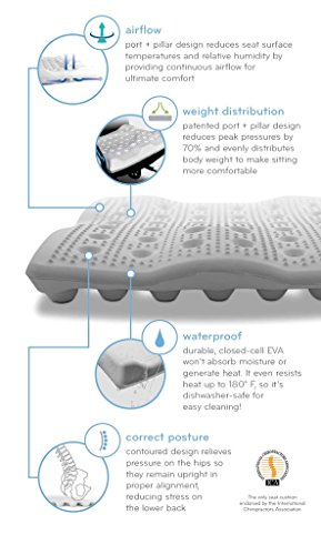 "BackJoy Ergo-Tech 3"" Seat Cushion, Durable EVA Foam, Slip-Resistant, Breathable, Waterproof, Improves Posture, Comes with Removable Zipper Cover, Size Large (18""x18"")"