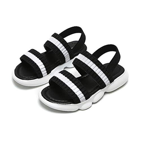 Girl's Summer Sandals Striped Non-Slip Breathable Elastic Band Beach Shoes,for 4-11.5 Years Kids Children (Black, 4-4.5Years)