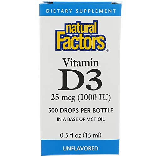 Natural Factors, Vitamin D3 Drops 1000 IU, Supports Strong Bones, Teeth and Immune Function with Flaxseed, Palm and Coconut Oils, 0.5 fl oz (500 servings)