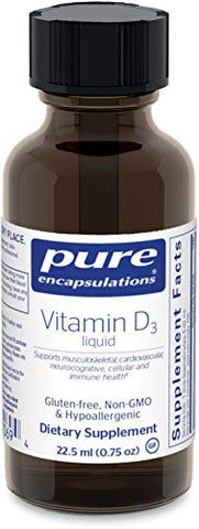Pure Encapsulations - Vitamin D3 Liquid - Hypoallergenic Support for Bone, Breast, Prostate, Cardiovascular, Colon and Immune Health* - 22.5 ml (0.75 fl oz)