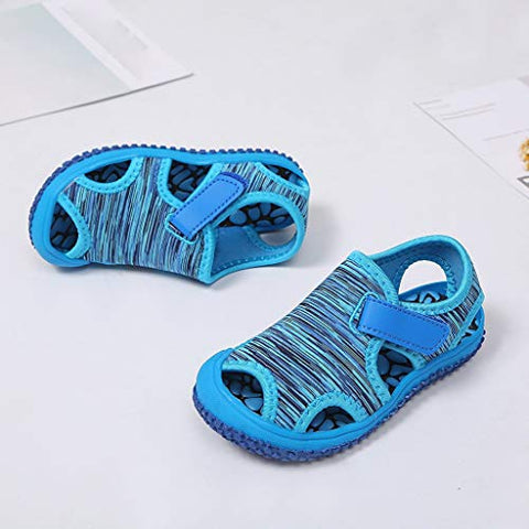 heavKin Girls Boys Sandals Striped Summer Non-Slip Outdoor Beach Baotou Shoes,for 15Months-9.5Years Children's (Blue, 7.5-8Years)