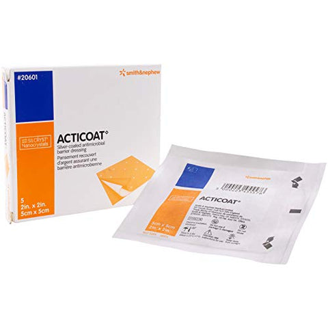 Acticoat 3 Day Burn Dressing with Silver Coated Antimicrobial Barrier, 2x2 Inches, 5 box