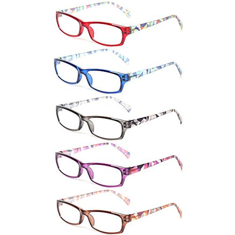 Reading Glasses 5 Pairs Fashion Ladies Readers Spring Hinge with Pattern Print Eyeglasses for Women (5 Pack Mix Color, 2.5)