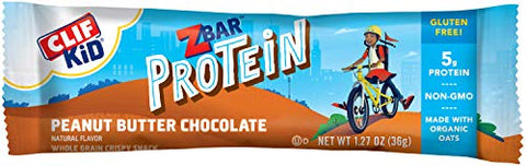 CLIF KID ZBAR - Protein Granola Bars - Peanut Butter Chocolate Flavor (1.27 Ounce Gluten Free Bars, Lunch Box Snacks, 10 Count)